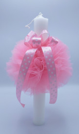 Lumanare botez cu dantela roz