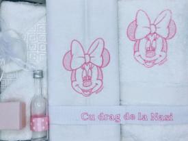 Set trusou si lumanare botez Dany Kids, Minnie brodat roz