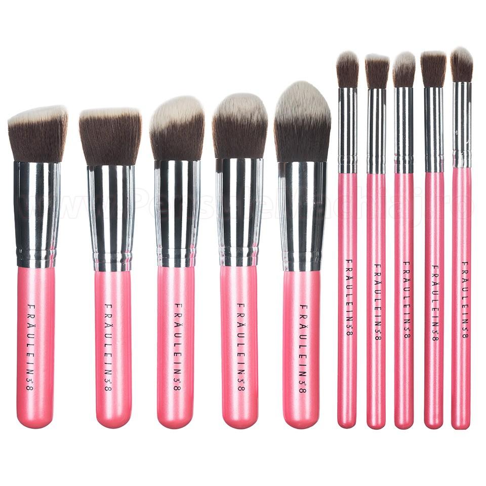 Set 10 Pensule Machiaj Profesionale Fraulein38 Kabuki Exclusive Style Pearl Pink