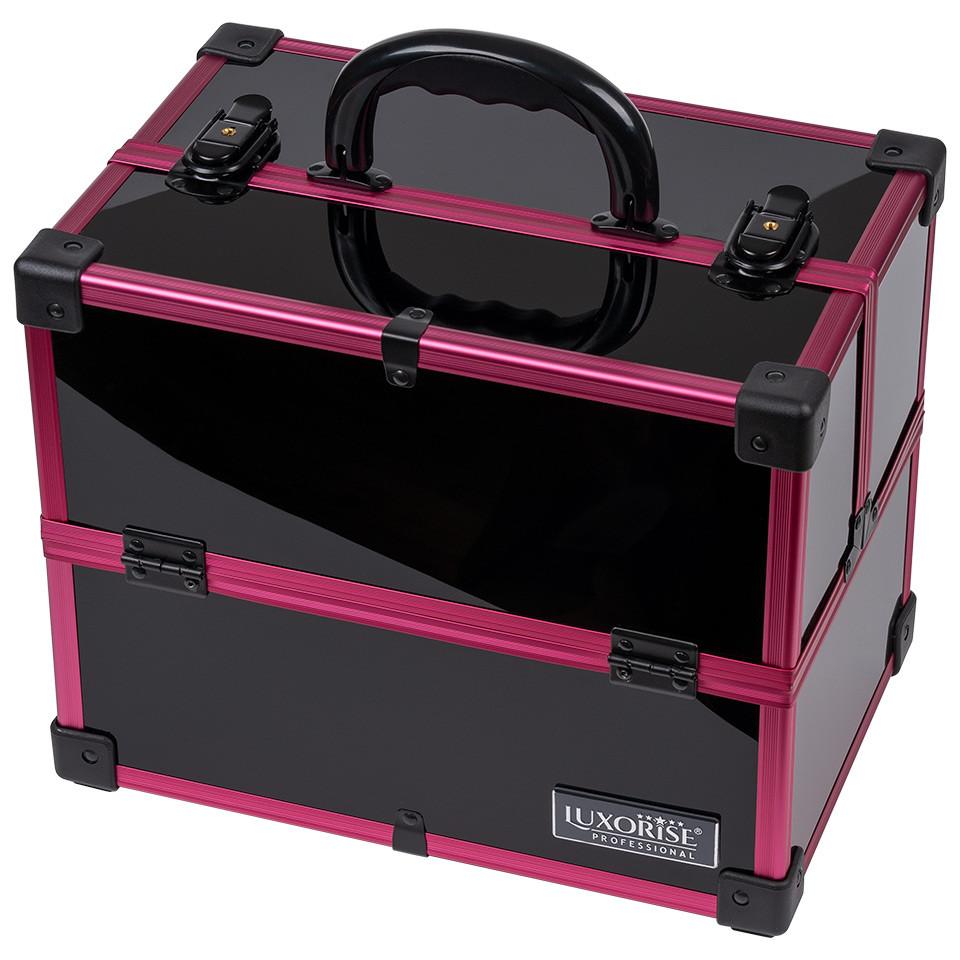 Geanta Makeup din Aluminiu, Black Case Magenta - LUXORISE imagine