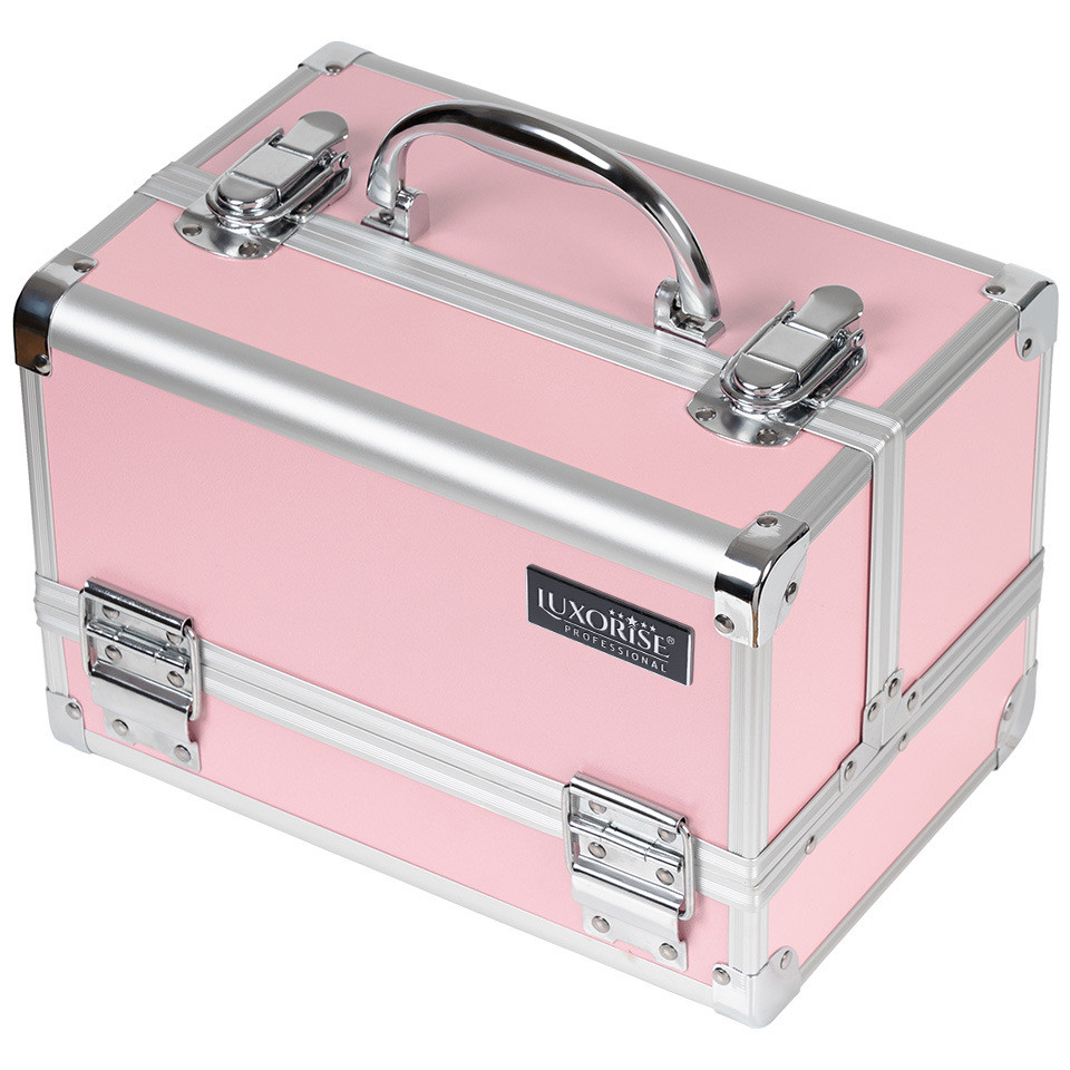Geanta Makeup din Aluminiu cu Oglinda, Elegant Pink - LUXORISE imagine produs
