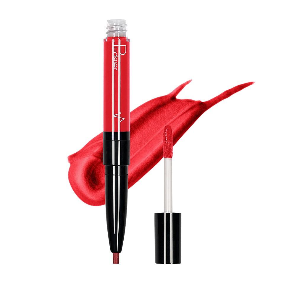 Ruj lichid mat 2 in 1 cu creion de buze Pudaier KissME #06 imagine produs