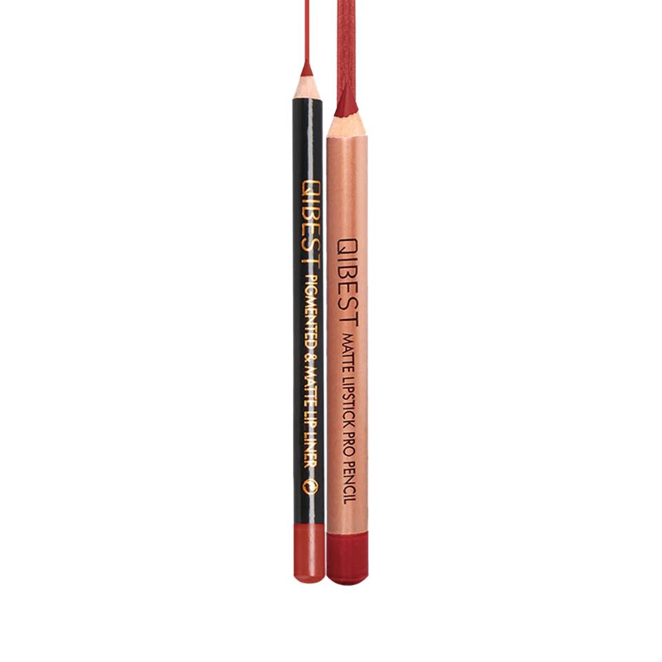 Set contur buze si ruj creion Qibest Promise #12 pensulemachiaj.ro