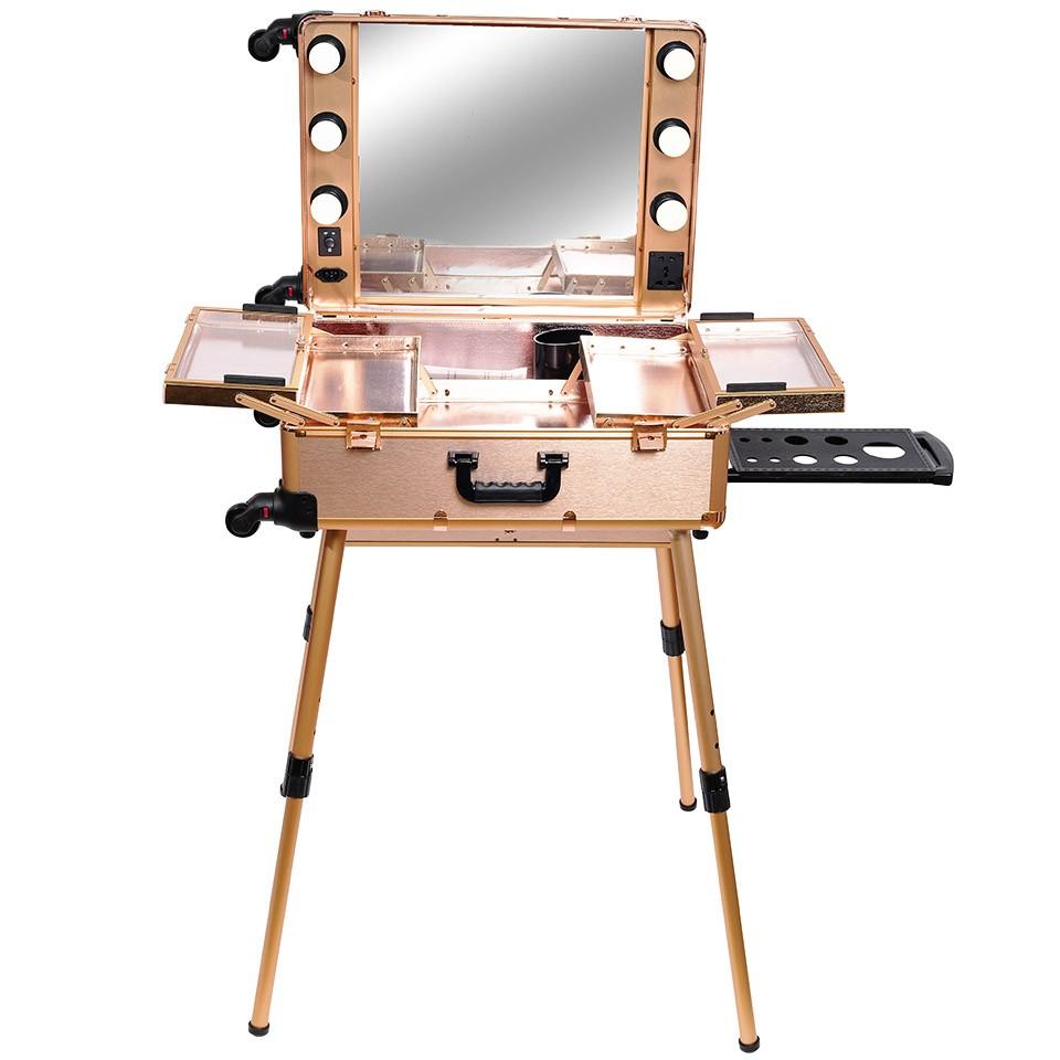 Statie Profesionala De Makeup Portabila Premium Rose Gold