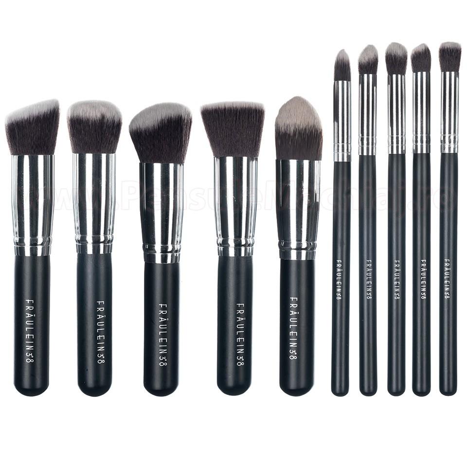 Set 10 Pensule Machiaj Fraulein38 Kabuki Exclusive Style - Black Satin