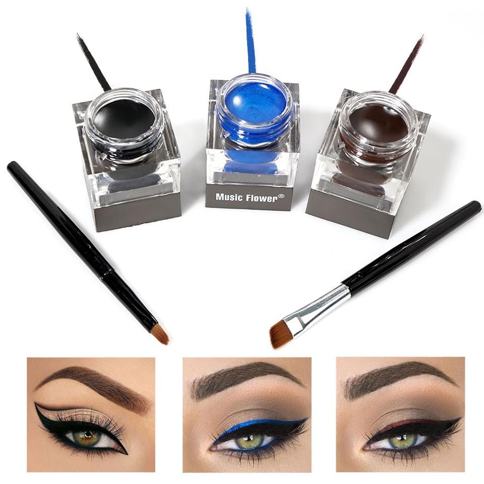 Eyeliner Gel 3 Culori + 2 Pensule - Maro, Negru, Albastru