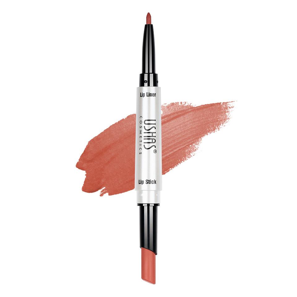 Ruj mat 2 in 1 cu creion de buze Ushas 3D Lip Deluxe #21 pensulemachiaj.ro