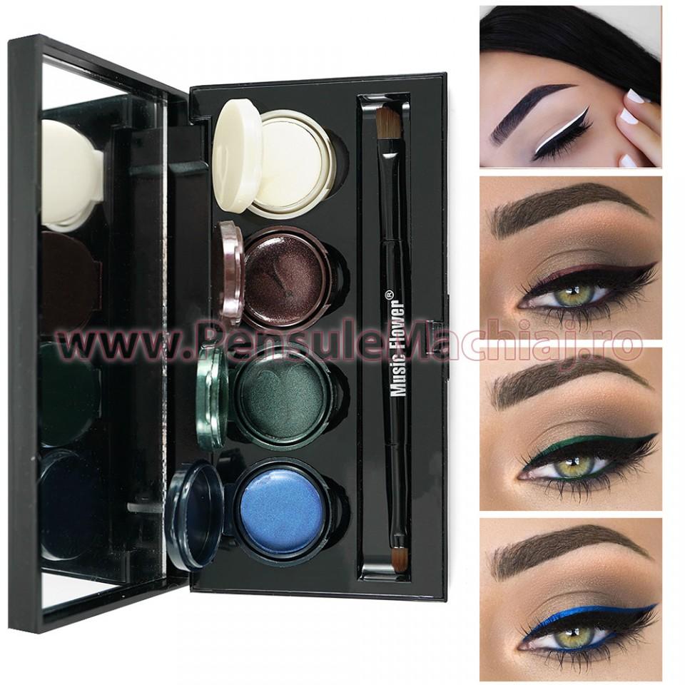 Set Eyeliner - Eyeshadow Gel 4 culori Smoked Makeup #02