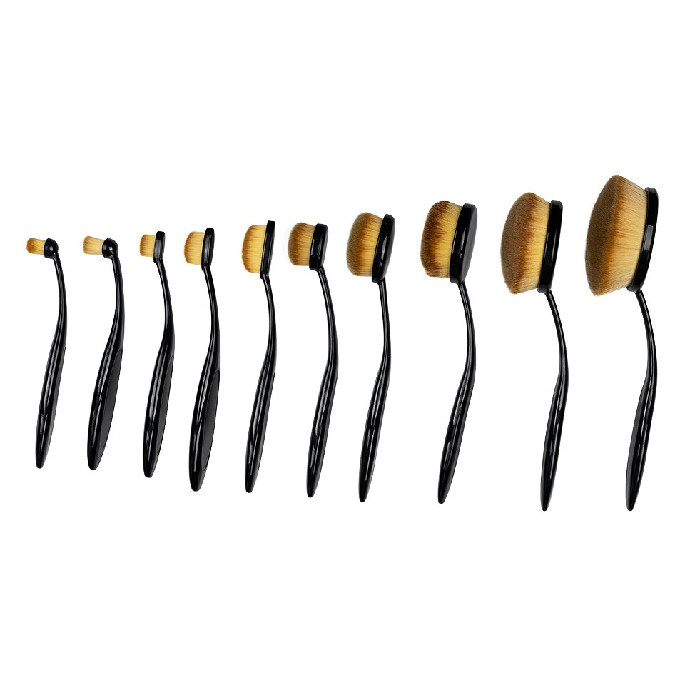 Set 10 Pensule Profesionale Make-up, Forma Ovala