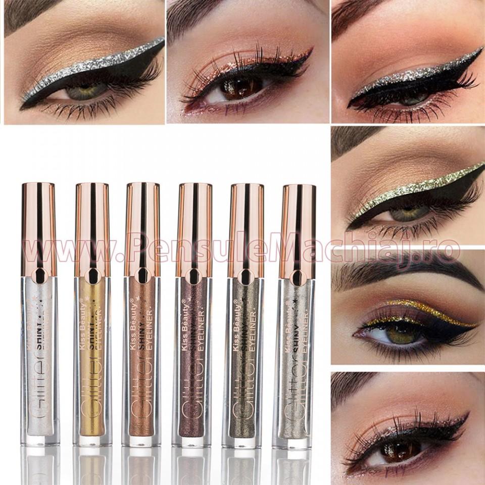 Eyeliner Colorat Rezistent la Transfer GlitterLine - set 6 bucati