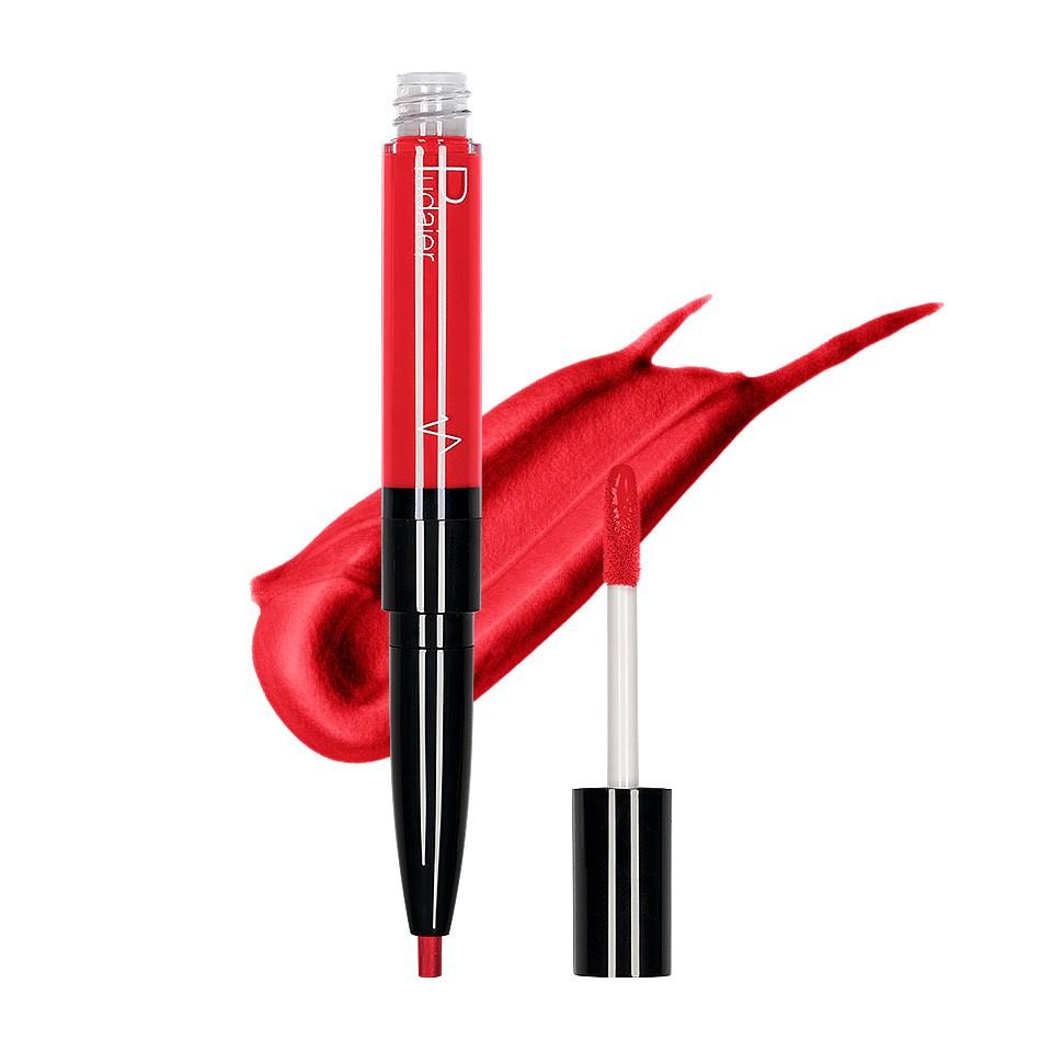 Ruj lichid mat 2 in 1 cu creion de buze Pudaier KissME #13 imagine produs