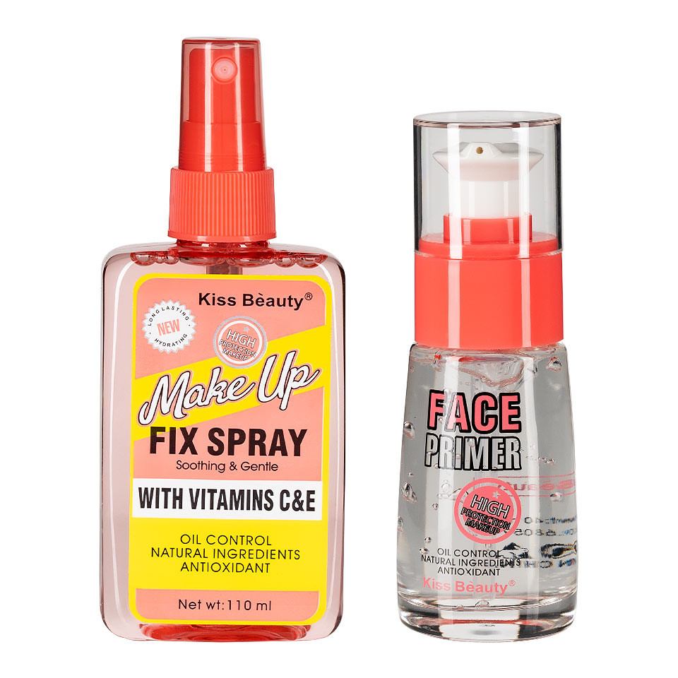 Set 2 in 1 Spray Fixare Machiaj si Primer Kiss Beauty cu Vitamine pensulemachiaj.ro