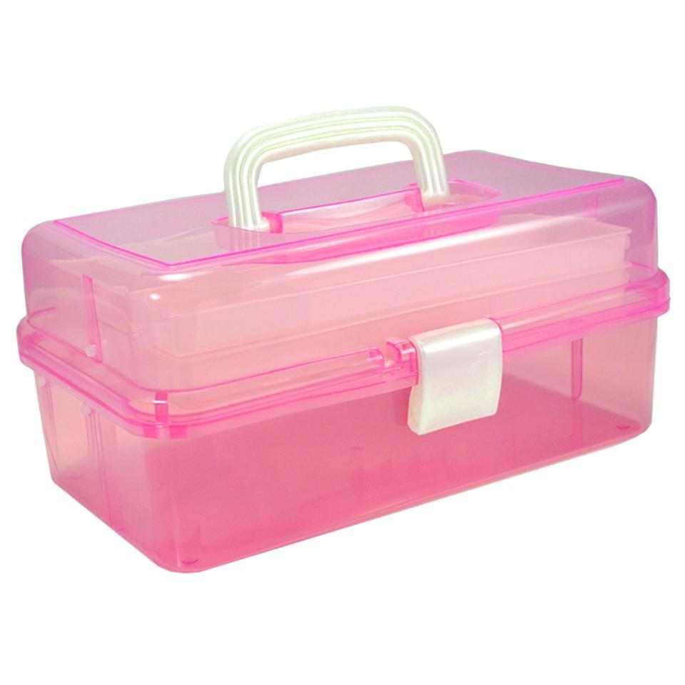 Cutie Cosmetice Compartimentata Roz, cu doua sertare si maner imagine produs