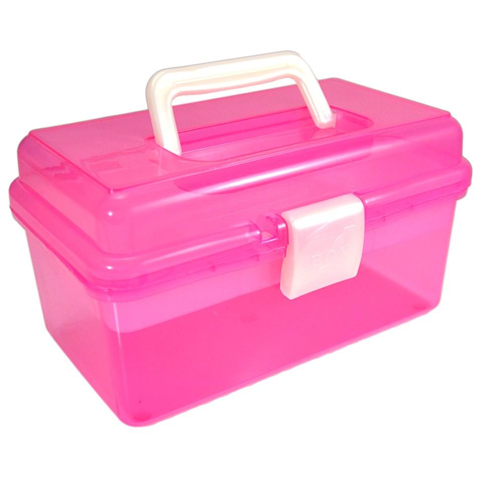 Cutie Cosmetice Compartimentata Roz, cu un sertar si maner imagine produs