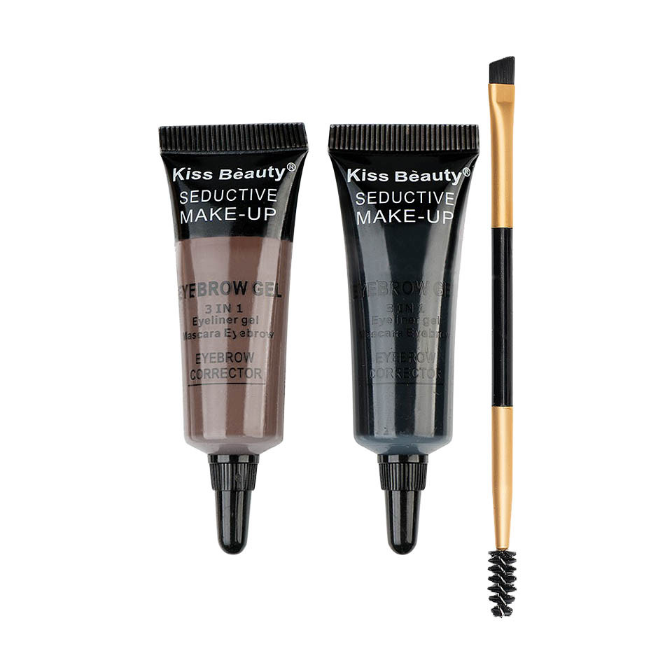 Kit sprancene 2 geluri + pensula & perie aplicare #03 SpecialBrow Kiss Beauty imagine produs