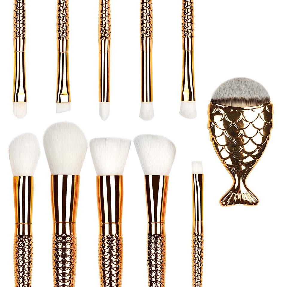 Set 11 pensule machiaj Mermaid Gold Fusion Limited Edition imagine