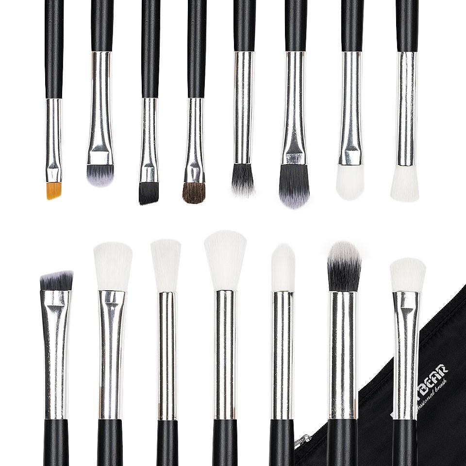 Set 15 pensule machiaj Precise Makeup, Black + Borseta Cadou imagine