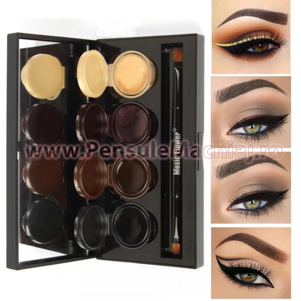 Grave spina Secernere  Set Eyeliner - Eyeshadow Gel 4 culori Smoked Makeup #01