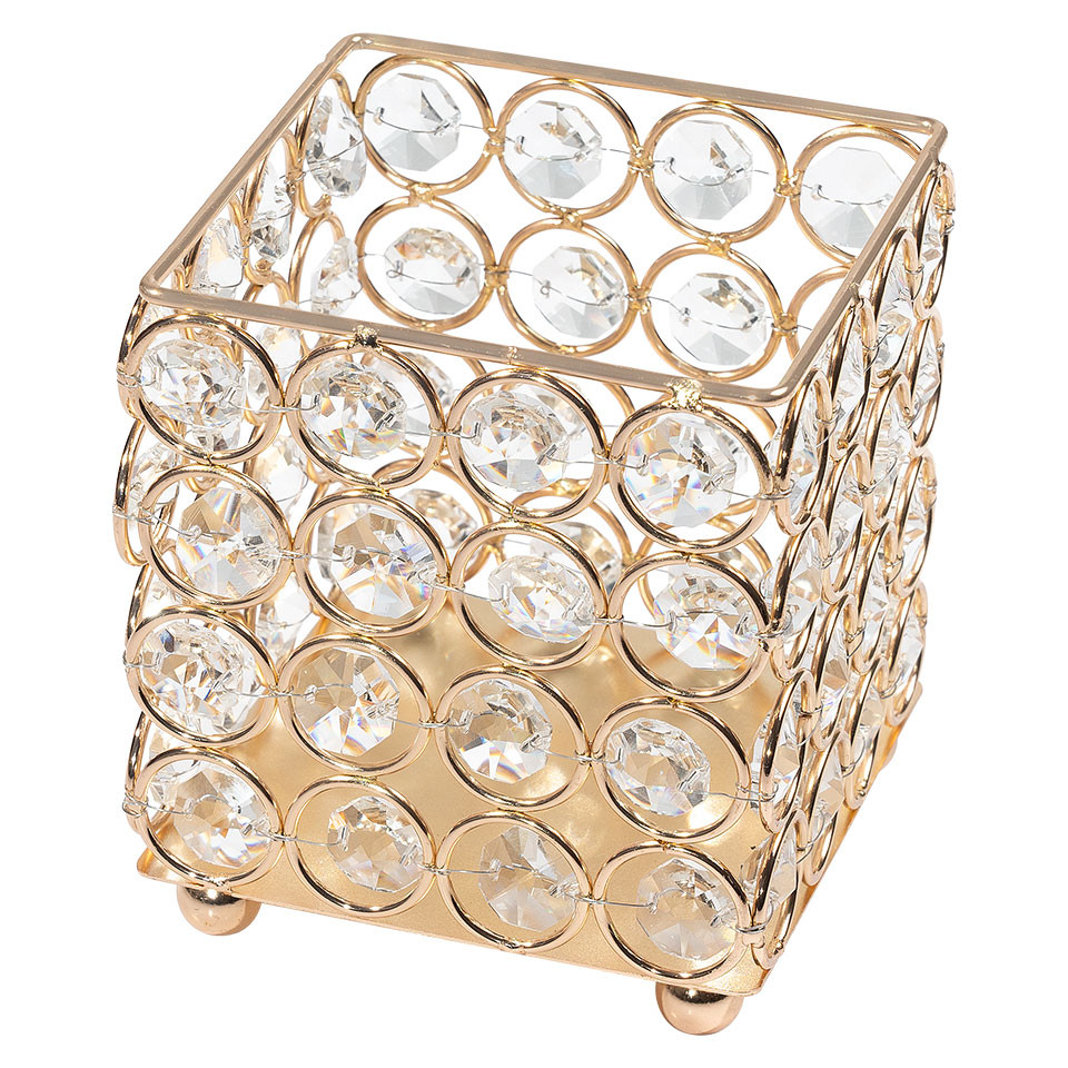 Suport Pensule Machiaj Diamond Crystal LUXORISE, Gold