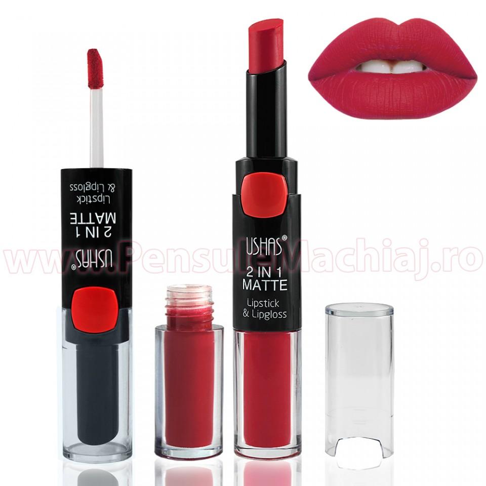 Lipstick & Lipgloss 2 In 1 Matte #10 - Romantic Red