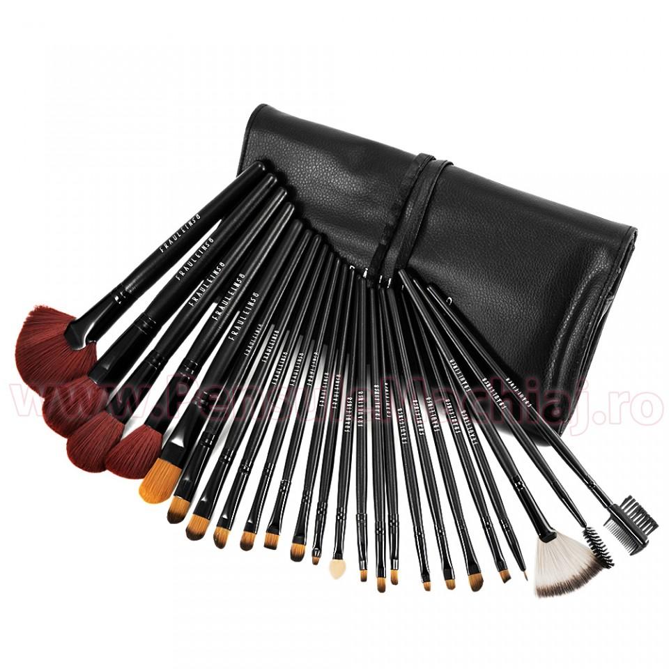 Set 24 pensule profesionale machiaj Fraulein38 Studio Black