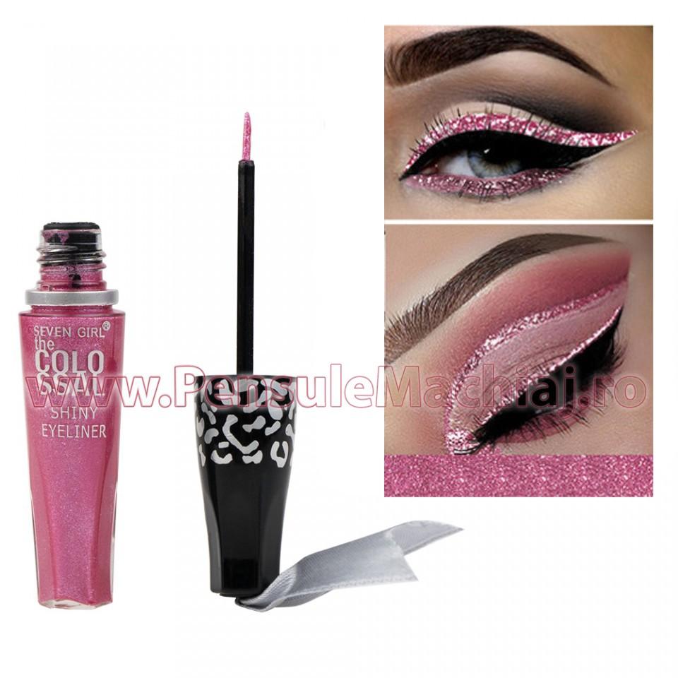 Eyeliner Colorat Rezistent la Transfer Metallic Pink 8 ml - 08