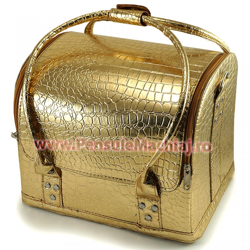 Geanta Produse Cosmetice Fraulein38, Culoarea Gold Mist
