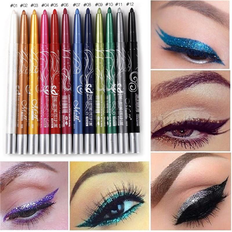 Set Eyeliner Colorat şi Contur Buze 12 culori
