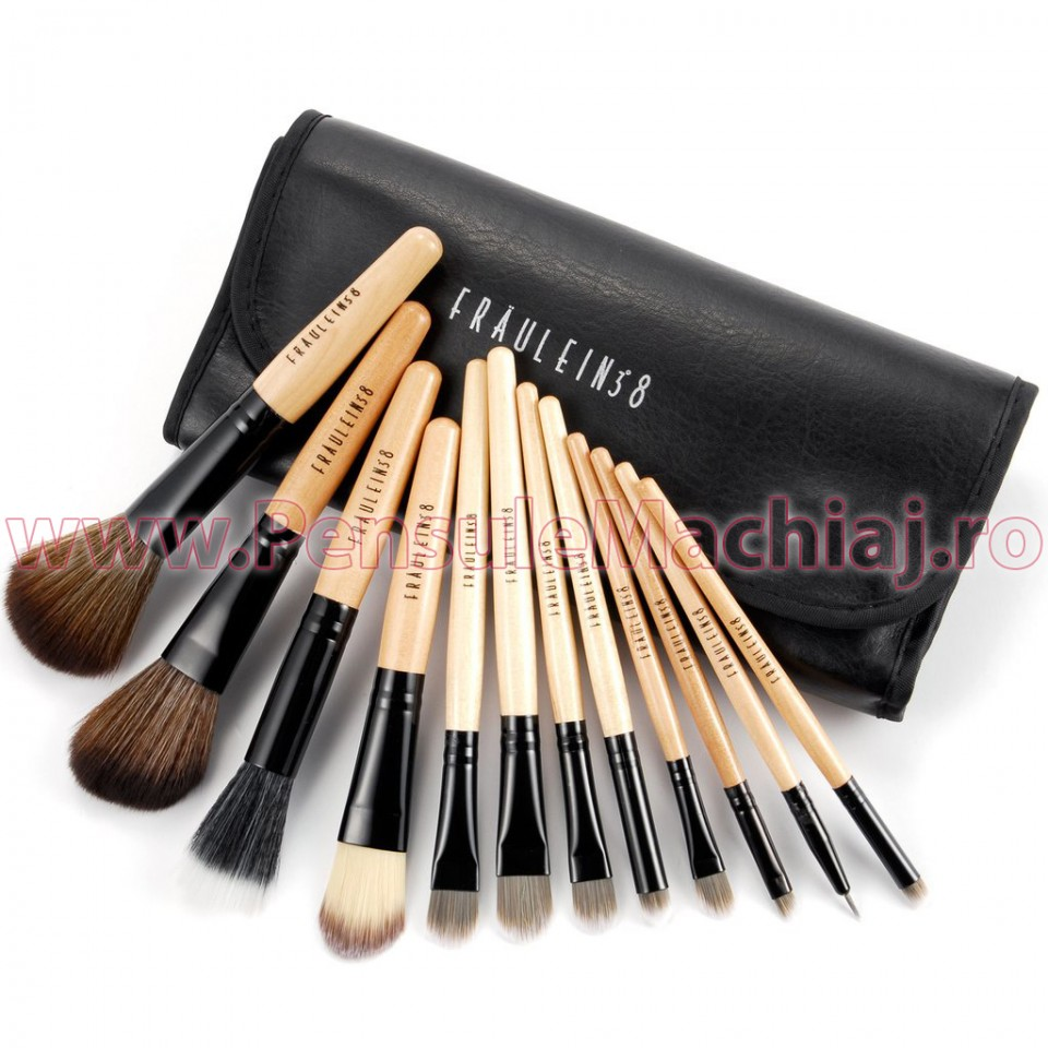 Set 12 pensule machiaj din par natural Fraulein38 Brown Special Edition