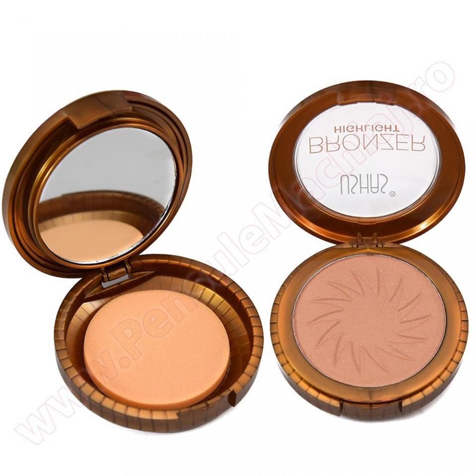 Trusa Bronzer Highlight Cu Buretel Si Oglinda #01 - Soft Brown
