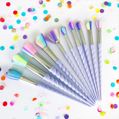 Set 10 Pensule Machiaj Rainbow Unicorn Brushes Limited Edition