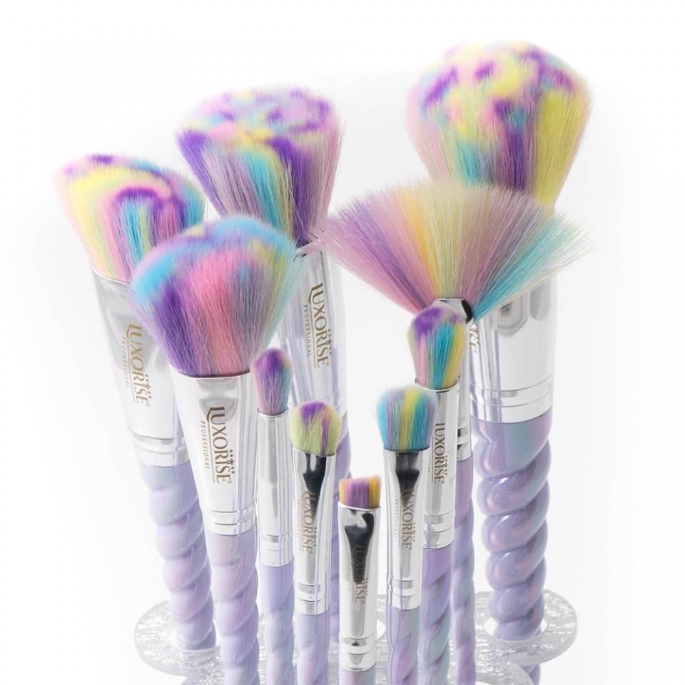 Set 10 pensule machiaj LUXORISE Germania Unicorn Brushes Limited Edition + Suport Pensule