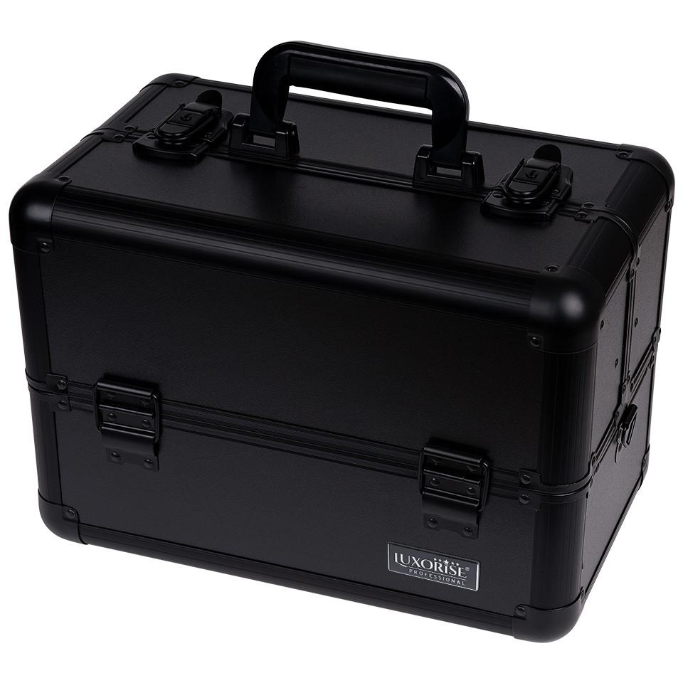 Geanta Produse Cosmetice din Aluminiu LUXORISE, Perfect Organizer, Black Tan imagine produs