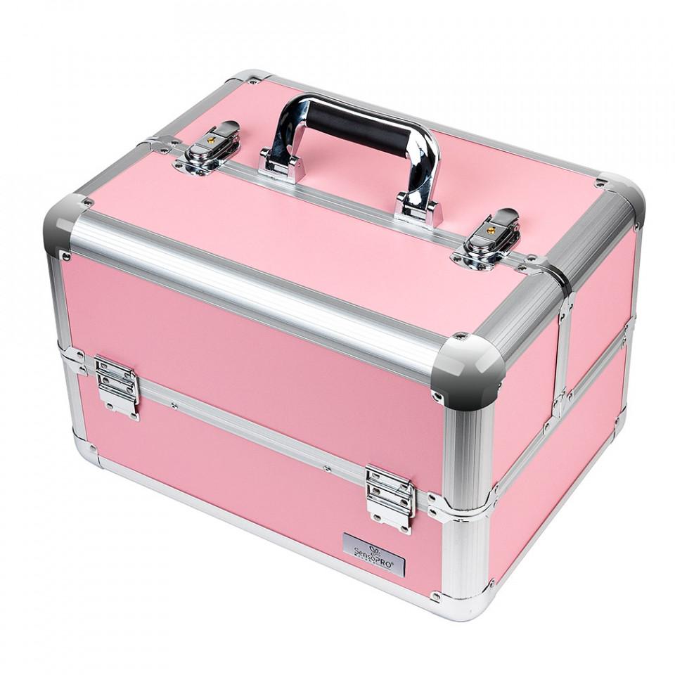 Geanta Produse Cosmetice SensoPRO Milano, Pastel Pink + CADOU Set 12 Pensule Machiaj pensulemachiaj.ro