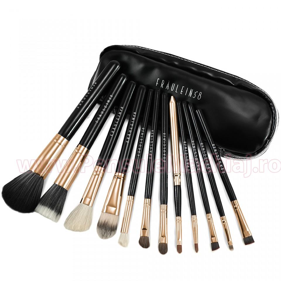 Set 12 Pensule Machiaj Din Par Natural Fraulein38 Fashion Gold