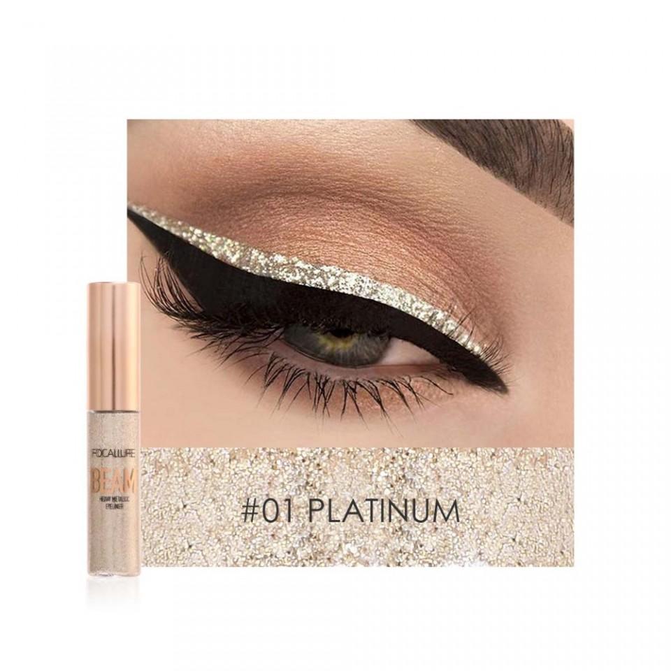 Eyeliner Colorat Focallure Glittery Shine #01 PLATINUM