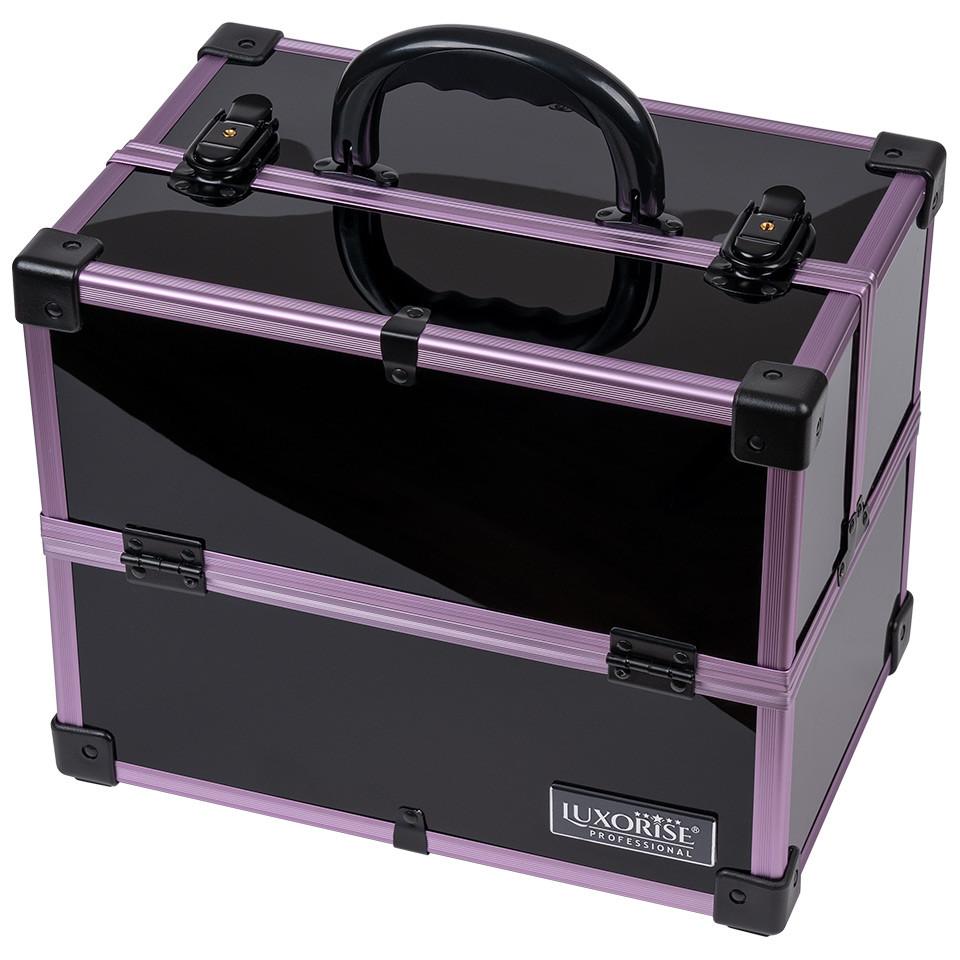 Geanta Makeup din Aluminiu, Black Case Mauve - LUXORISE imagine