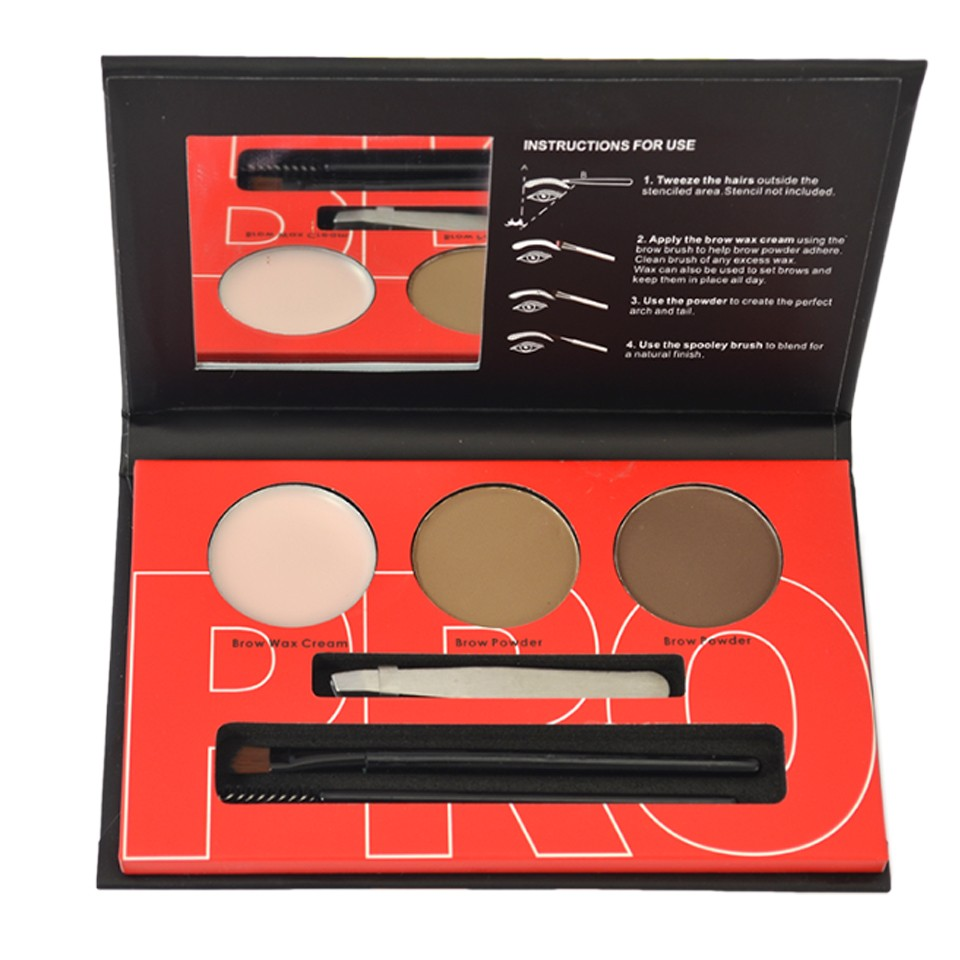 Kit Sprancene pudra, ceara, penseta, pensula - Brow Professional #02 imagine produs