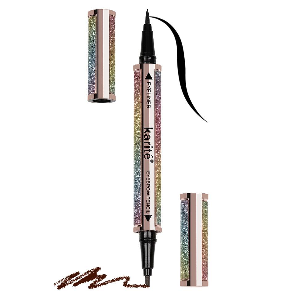 Eyeliner si Creion Sprancene 2 in 1, tip Carioca Karite Double Effect pensulemachiaj.ro