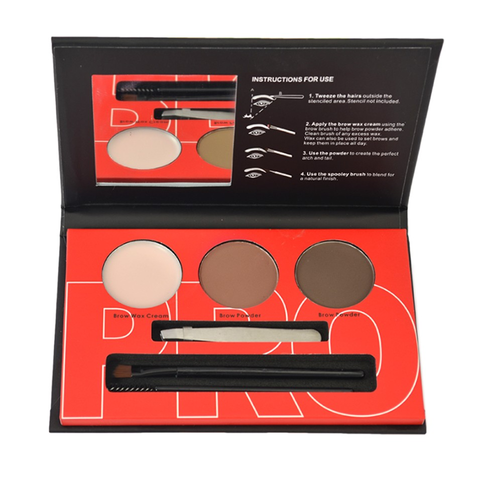 Kit Sprancene pudra, ceara, penseta, pensula - Brow Professional #01 imagine produs