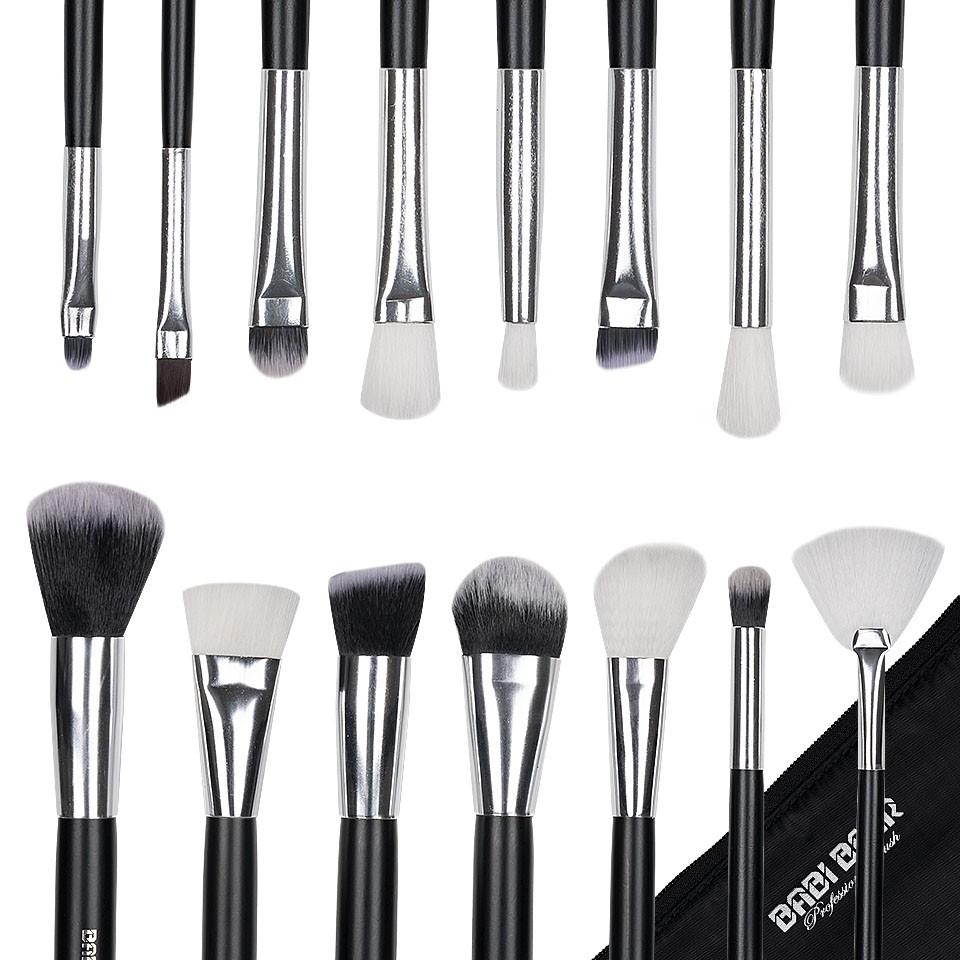 Set 15 pensule machiaj Fabulous Youth, Black Silver + Borseta Cadou imagine