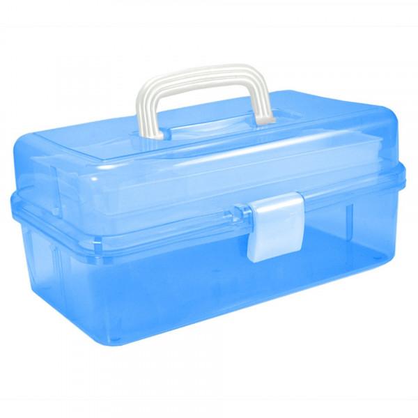 Poze Cutie Cosmetice Compartimentata Albastru, cu doua sertare si maner