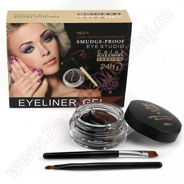 Eyeliner Gel 2 Culori Long Lasting, Waterproof Black & Brown + 2 Pensule