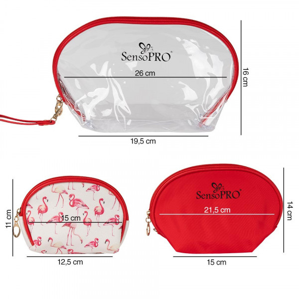 Poze Portfard Travel Transparent & Red, SensoPRO Flamingo, set 3 buc