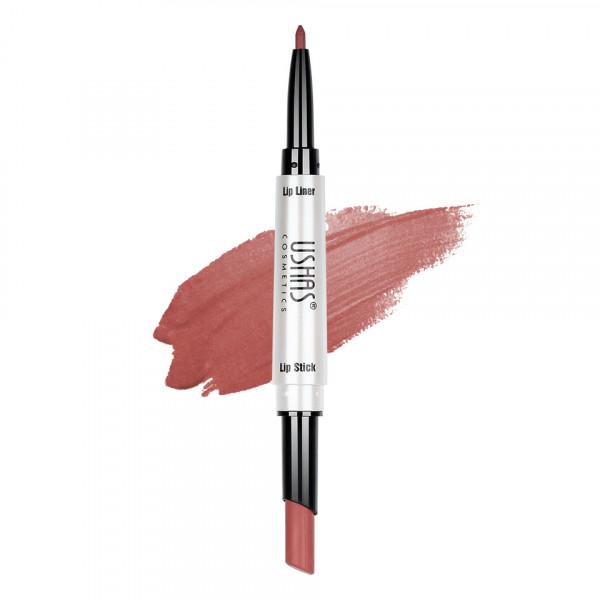 Poze Ruj mat 2 in 1 cu creion de buze Ushas 3D Lip Deluxe #19