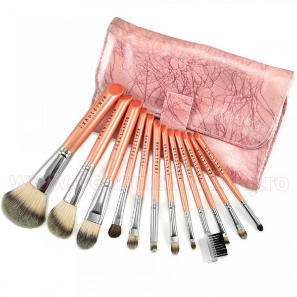 Poze Set 12 pensule machiaj profesionale Pink Premium Fraulein38