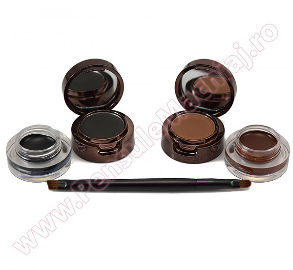 Poze Set 2 in 1 Eyeliner Gel & Eyebrow Black & Brown + 1 pensula dubla