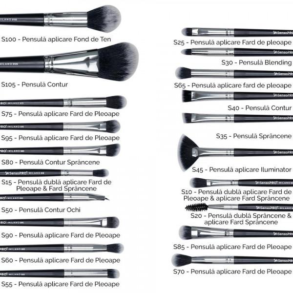Poze Set 20 pensule machiaj SensoPRO Milano, Black Silver + Borseta Cadou
