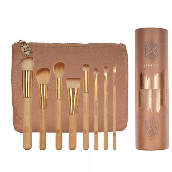 Poze Set 8 pensule machiaj Bamboo Luxury + Borseta Cadou