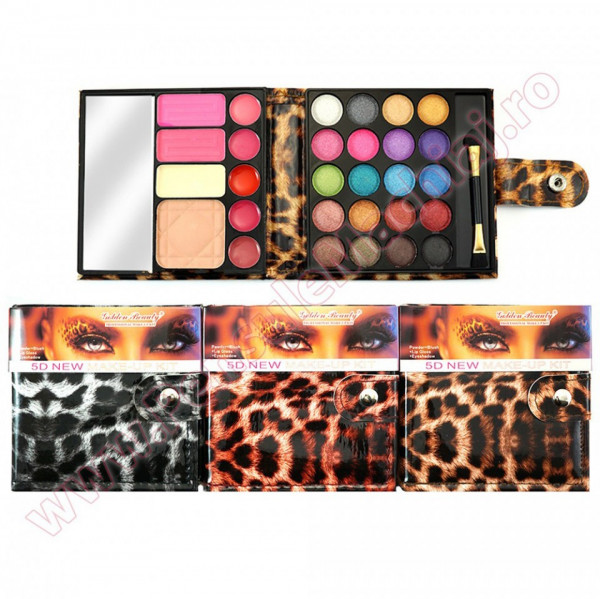 Trusa Machiaj 29 culori cu ruj, blush, pudra si concealer 5D - Wildlife